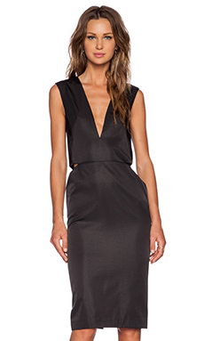SOLACE London Tia Knee Length Dress in Black
