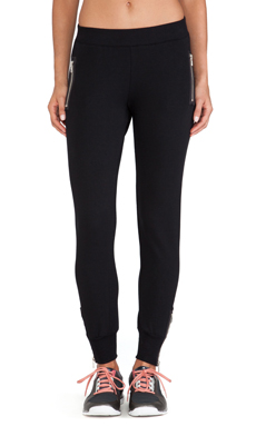 So Low Leather Zipper Detail Sweatpant in Black