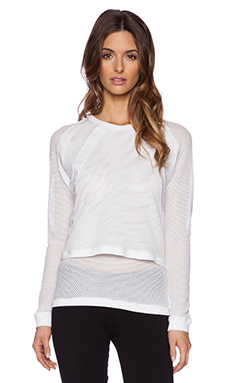 SOLOW Double Layer Mesh Sweatshirt in White