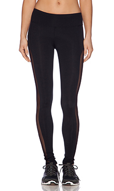 SOLOW Legging with Mesh Tuxedo Stripe in Black