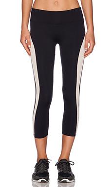 SOLOW Racer Stripe Capri Legging in Black & Blush