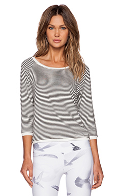SOLOW Stripe French Terry Pullover in Black & White
