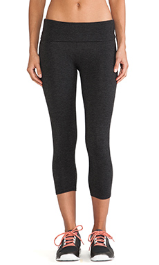 SOLOW Basics Fold Over Crop Legging in Heather Charcoal