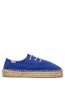 Soludos Platform Derby Lace Up in Klein Blue