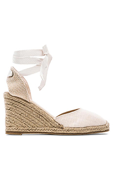 Soludos Tall Linen Wedge in Blush
