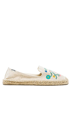 Soludos Mexican Embroidered Espadrille in Sand Multi