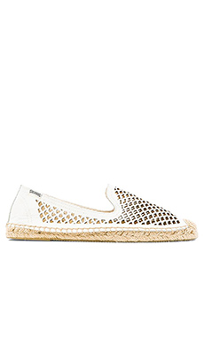 Soludos Perforated Leather Smoking Slipper in White