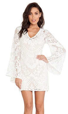 Spell & The Gypsy Collective White Dove Vintage Lace Mini Dress in White