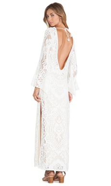 Spell & The Gypsy Collective White Dove Vintage Long Sleeve Dress in White