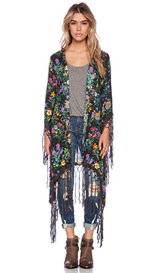 Spell & The Gypsy Collective Gypsy Queen Tassel Kimono in Black Floral