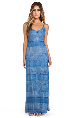 Splendid Textured Ink Stripe Maxi Dress in Indigo Blue