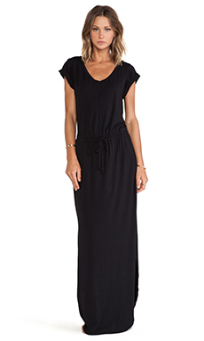 Splendid Tie Waist Maxi Dress in Black