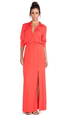 Splendid Rayon Twill Button Up Maxi Dress in Paprika