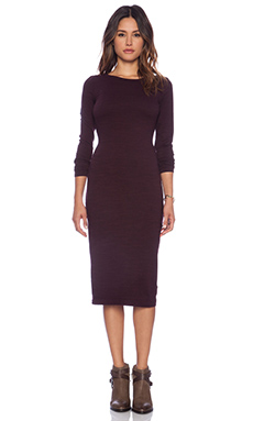 Splendid Slub French Terry Dress in Aubergine