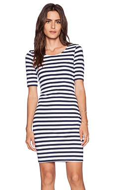 Splendid T Shirt Stripe Dress in White