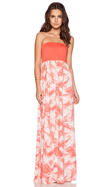 Splendid Palm Fronds Maxi Dress in Guava