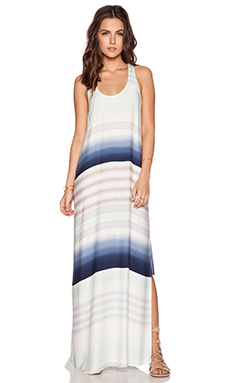 Splendid Tropical Stripe Maxi Dress in Stone Blue & Surf Spray