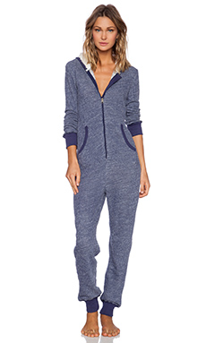 Splendid Long Sleeve Hooded Romper in Astral Aura Heather