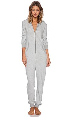 Splendid Long Sleeve Hooded Romper in Medium Grey Heather