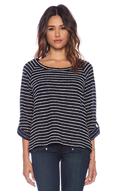 Splendid Madison Stripe Boucle Sweater in Navy