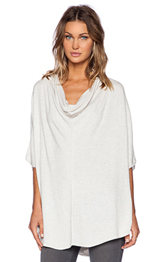 Splendid Cashmere Blend Poncho in Heather White