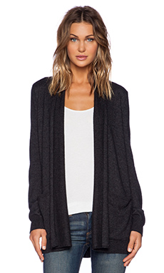 Splendid Cashmere Blend Cardigan in Heather Black