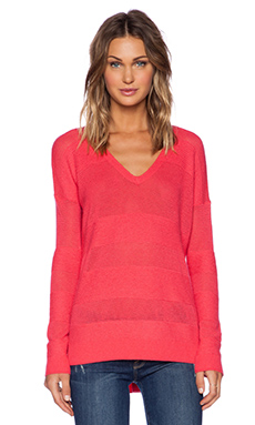 Splendid Cashmere Blend V Neck Sweater in Azalea