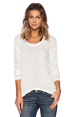 Splendid South Cove Loose Knit Hoodie in Cream