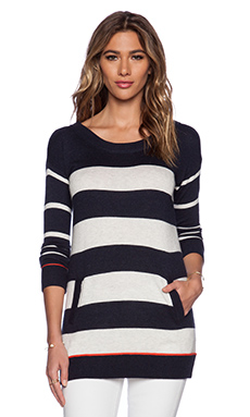 Splendid Cashmere Blend Stripe Sweater in Heather Navy & Heather White