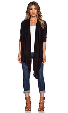 Splendid Very Light Jersey & Rib Cardigan in Black
