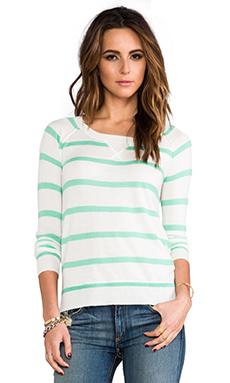 Splendid Cashmere Blend Sweater in White & Green