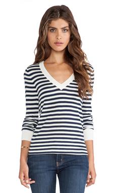 Splendid Cashmere Blend V Neck Striped Sweater in Navy