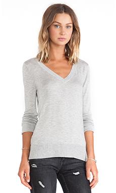Splendid Cashmere Blend V Neck Sweater in Heather Grey