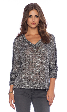 Splendid Hudson Melange Knit Sweater in Heather Charcoal