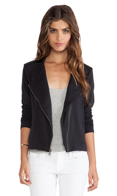 Splendid Bray Active Faux Leather Mix Jacket in Black