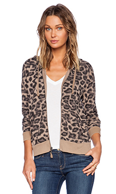 Splendid Distressed Leopard Zip Hoodie in Tan