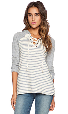 Splendid West Shore Stripe Hoodie in Stonewash