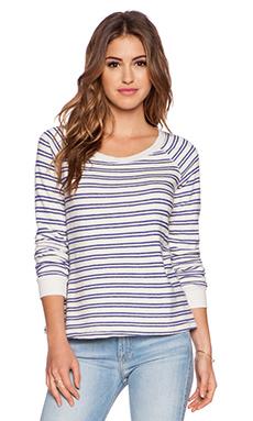 Splendid Double Stripe Active Sweatshirt in Cream & Azure