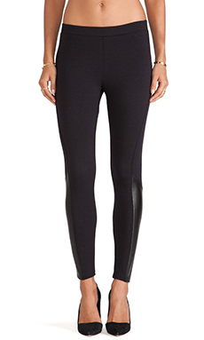 Splendid Downtown Faux Leather Trim Leggings in Black