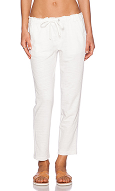 Splendid Terry With Lattice Trim Pant in Pearl