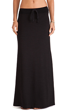 Splendid Slub French Terry Maxi Skirt in Black