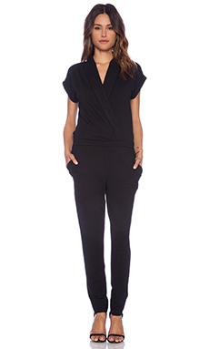 Splendid Slub French Terry Jumpsuit in Black