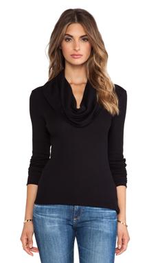 Splendid Thermal Long Sleeve Cowl Neck in Black