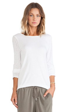 Splendid V Back Long Sleeve in White