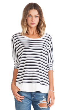 NAVY STRIPE THERMAL TOP