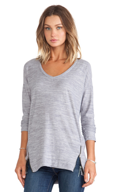 Splendid Space Dyed Jersey V-neck Top in Light Grey