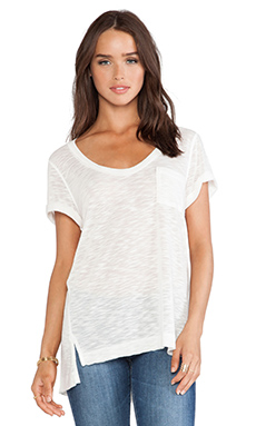 Splendid Cozy Melange Jersey Tee in White