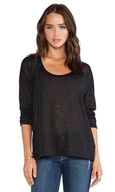 Splendid Cozy Melange Jersey Long Sleeve Tee in Black