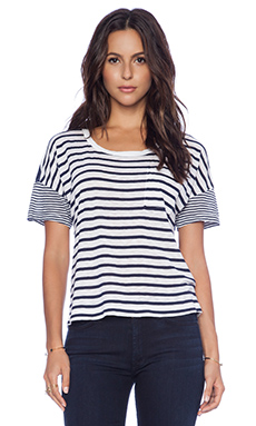 Splendid Quincy Stripe Pocket Tee in White