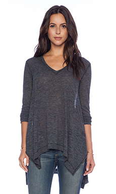 Splendid Cozy Melange Jersey Top in Charcoal